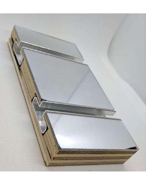 Mirror Slatwall Panel Edge w/ Aluminum Inserts