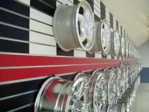 Auto Rims Displayed On Slatwall