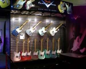 Fender Guitar Display Using Chemetal Slatwall