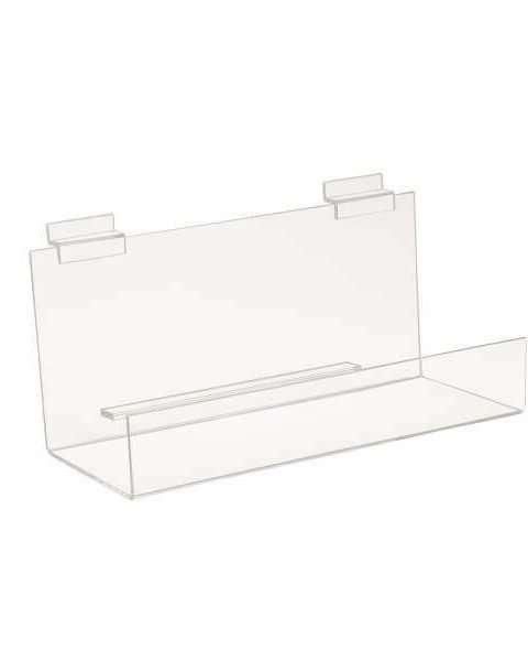 Slatwall Acrylic Book Shelf w/ 2 Inch Lip