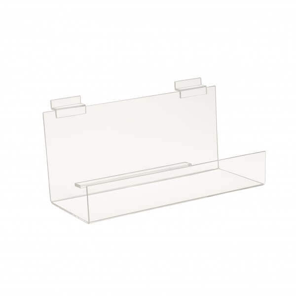 Slatwall Acrylic Book Shelf w/ 2 Inch Lip