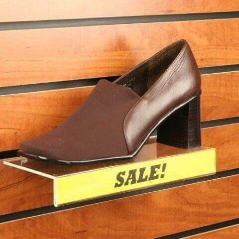 Acrylic Shoe Shelf w/ Sign Holder For Slatwall