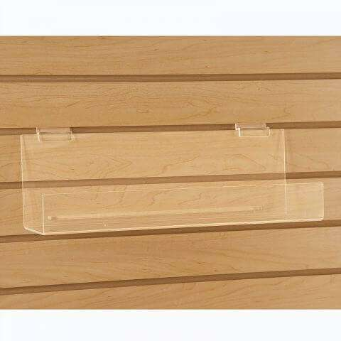 Acrylic Slatwall Book Shelf w/ 2 Inch Lip