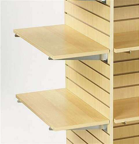 Maple Melamine Slatwall Shelves On Display