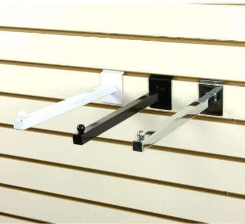 Slatwall Straight Square Faceout w/ Ball End - Chrome, Black White