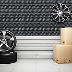 Tire Tread Textured Slatwall Display