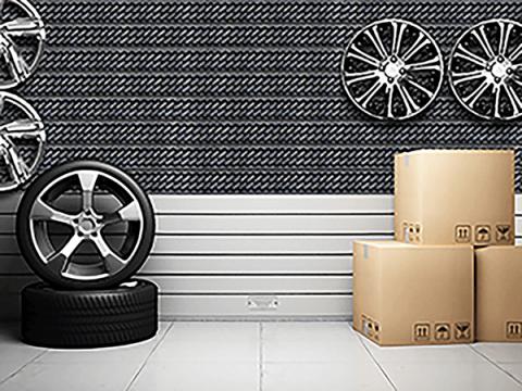 Tire Tread Textured Slatwall Display