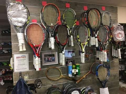 Tennis Racquet Display using Reclaimed Oak HPL Slatwall